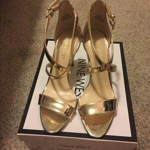 Gently Worn Nine West My Debut Light Gold Sandal